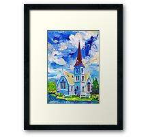 White Church Blue Sky Oil Painting Wall Art by Ekaterina Chernova Framed Print
