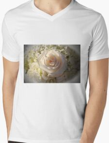 Elegant White Roses Mens V-Neck T-Shirt