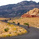 Motorcyclists on a Desert Highway by dbvirago