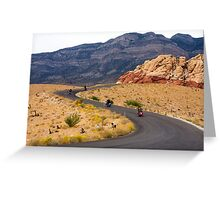 Motorcyclists on a Desert Highway Greeting Card