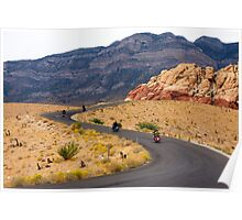 Motorcyclists on a Desert Highway Poster