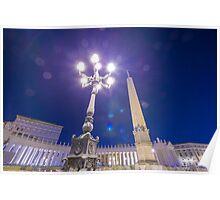 Street lamp and obelisk Poster