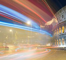Light trails and colosseum by Mats Silvan
