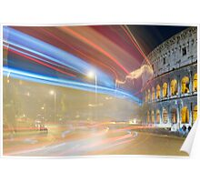 Light trails and colosseum Poster