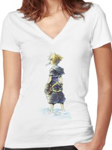 Kingdom Hearts - Sora on beach Women's Fitted V-Neck T-Shirt
