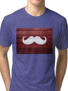 Funny Mustache Vintage Wood Tri-blend T-Shirt