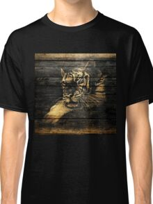Tiger Face on Wooden Classic T-Shirt