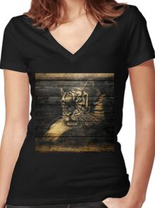 Tiger Face on Wooden Women's Fitted V-Neck T-Shirt