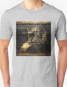 Tiger Face on Wooden Unisex T-Shirt
