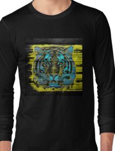 Tiger Face on Wooden Long Sleeve T-Shirt