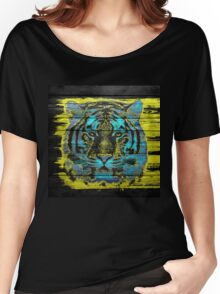Tiger Face on Wooden Women's Relaxed Fit T-Shirt