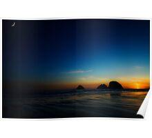 Oregon Sunset on the Beach Poster
