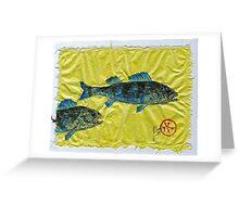 Gyotaku - Yellow Perch - Bluefish Greeting Card