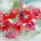 Semi abstract roses on green  by artistpixi