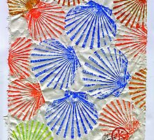 Gyotaku Scallops - Summertime Fun - Shellfish by IslandFishPrint