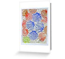 Gyotaku Scallops - Summertime Fun - Shellfish Greeting Card