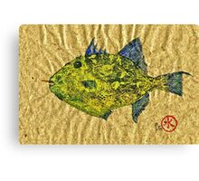 Gyotaku - Triggerfish - Queen Triggerfish Canvas Print
