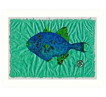 Gyotaku - Triggerfish - Queen Triggerfish Art Print