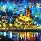 HARBOR AT NIGHT  by Leonid  Afremov