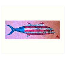 Gyotaku - American Spanish Mackerel - Flag Art Print