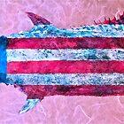 Gyotaku - American Spanish Mackerel - Flag by IslandFishPrint