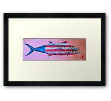 Gyotaku - American Spanish Mackerel - Flag Framed Print