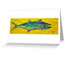 Gyotaku -Spanish Mackerel - Bright Yellow Greeting Card