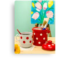 Red and White Polka-dot Still Life Canvas Print