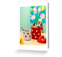 Red and White Polka-dot Still Life Greeting Card