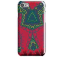 African Triangles, Tribal Fractal - Green Red Yellow iPhone Case/Skin