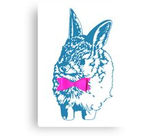 Blue Bunny, Pink Bow Canvas Print