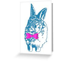 Blue Bunny, Pink Bow Greeting Card