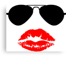 Aviator Sunglasses and Kiss Canvas Print