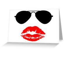 Aviator Sunglasses and Kiss Greeting Card