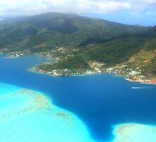 Tahitian Islands - Aerial View of Coastline and Coral Reef by Honor Kyne