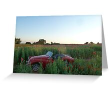 Poppy field, Classic Car Greeting Card