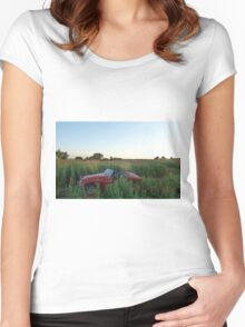 Poppy field, Classic Car Women's Fitted Scoop T-Shirt