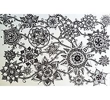 Black Flower Pattern Photographic Print