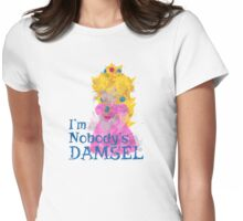 Nobody's Damsel in Distressed Font Womens Fitted T-Shirt
