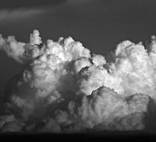 CUMULUS CLOUDS IN BLACK AND WHITE by Sandra  Aguirre