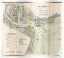 Civil War Maps 0425 General map of Charleston Harbor South Carolina showing rebel defences and obstructions Poster
