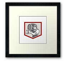 Barman Lifting Barrel Pouring Beer Mug Retro Framed Print