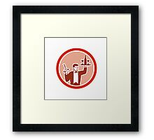 Waiter Serving Wine Holding Corkscrew Retro Framed Print