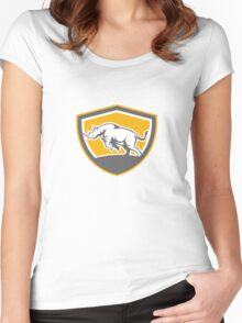 Rhinoceros Charging Side Shield Retro Women's Fitted Scoop T-Shirt
