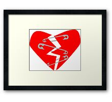 Safety Pin Heart Framed Print