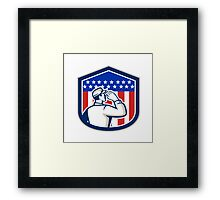 American Soldier Saluting Flag Shield Framed Print