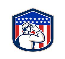 American Soldier Saluting Flag Shield Photographic Print
