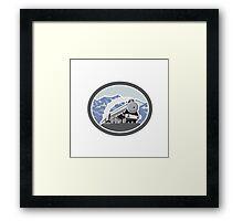 Steam Train Locomotive Mountains Retro Framed Print