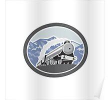 Steam Train Locomotive Mountains Retro Poster