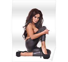Sexy girl in black leather pants Poster